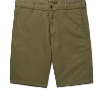 Cotton And Linen-blend Twill Shorts - Green
