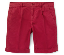 Slim-fit Pleated Cotton Shorts - Claret