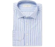 Blue Slim-fit Striped Fil Coupé Cotton Shirt