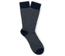 Farringdon Striped Cotton-blend Socks - Navy