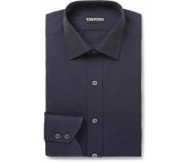 Midnight-blue Slim-fit Cotton-poplin Shirt