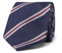 8cm Striped Silk And Linen-blend Tie
