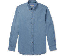 Button-down Collar Stretch-cotton Chambray Shirt - Blue