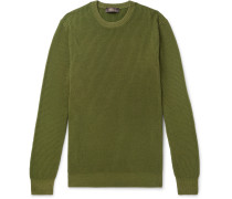Garment-dyed Ribbed Cashmere Sweater - Green