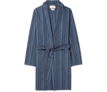 Farrow Striped Organic Cotton Robe - Navy