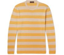 Striped Textured-cotton Sweater