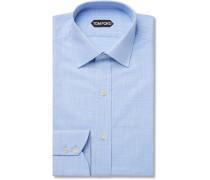Light-blue Slim-fit Puppytooth Cotton Shirt