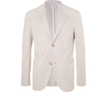 Beige Unstructured Cotton And Linen-blend Suit Jacket