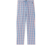 Checked Cotton Pyjama Trousers - Blue