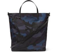 Valentino Garavani Leather-trimmed Camouflage-print Shell Tote Bag