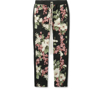 Floral-print Textured-cotton Drawstring Trousers