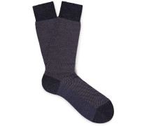 Blenheim Birdseye Merino Wool-blend Socks - Dark gray