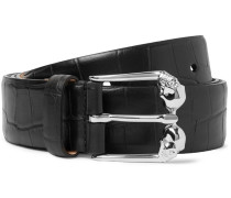 3.5cm Croc-effect Leather Belt