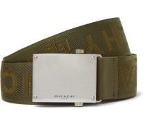 3.5cm Army-green Leather-trimmed Logo-jacquard Webbing Belt - Green