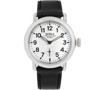 The Runwell 36mm Stainless Steel And Leather Watch - White
