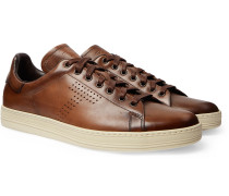 Warwick Burnished-Leather Sneakers
