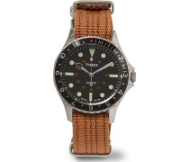 Navi Harbor Stainless Steel And Nylon-webbing Watch - Brown