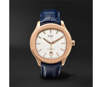Polo S Automatic 42mm 18-karat Rose Gold And Alligator Watch - White