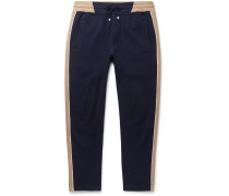 Slim-Fit Tapered Striped Cotton-Blend Jersey Sweatpants