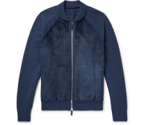 Suede, Cashmere And Wool-blend Zip-up Cardigan