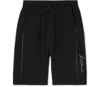 Slim-fit Embroidered Loopback Jersey Shorts - Black