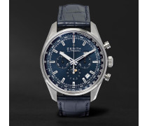 El Primero 410 42mm Stainless Steel And Alligator Watch - Blue