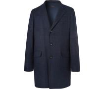 Houndstooth Cashmere Overcoat - Navy