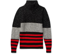 Intarsia Striped Wool-blend Rollneck Sweater - Black
