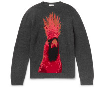 Parrot-intarsia Virgin Wool And Cashmere-blend Sweater - Charcoal