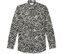 Tiger-Print Wool-Gauze Shirt