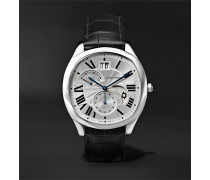 Drive De Cartier Automatic 40mm Steel And Alligator Watch - Silver