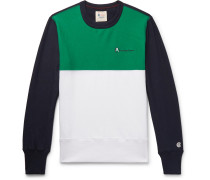 Logo-embroidered Colour-block Loopback Cotton-jersey Sweatshirt - Green