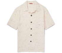 Camp-collar Mélange Linen-blend Shirt