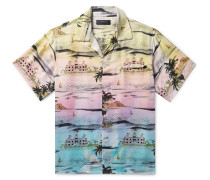 Camp-collar Printed Silk-twill Shirt - Multi