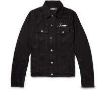 Appliquéd Embroidered Distressed Denim Jacket