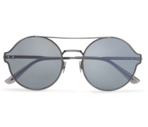 Round-frame Engraved Silver-tone Mirrored Sunglasses