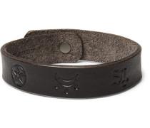 Embossed Leather Bracelet - Brown