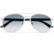 Aviator-Style Brushed Silver-Tone and Acetate Sunglasses
