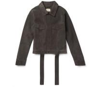 Suede Trucker Jacket - Dark brown