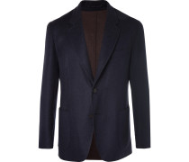 Navy Unstructured Double-faced Wool And Cashmere-blend Blazer