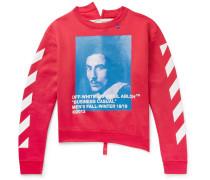 Printed Fleece-back Cotton-jersey Sweatshirt - Red