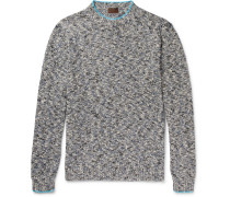 Mouline Contrast-tipped Mélange Knitted Sweater