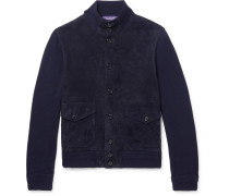 Suede-panelled Cashmere Cardigan - Navy