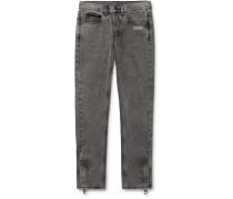 Slim-Fit Logo-Print Stonewashed Denim Jeans
