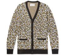 Leopard-Jacquard Cotton Cardigan