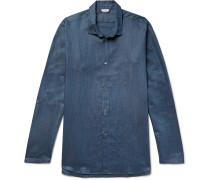 Mélange Linen and Cotton-Blend Pyjama Shirt