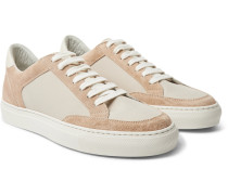 Leather-trimmed Suede And Ripstop Sneakers - Sand