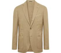 Light-Brown Unstructured Linen-Blend Twill Blazer