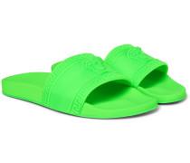 Logo-embossed Rubber Slides - Bright green