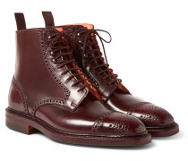 Toby Cap-toe Horween Shell Cordovan Leather Brogue Boots - Burgundy